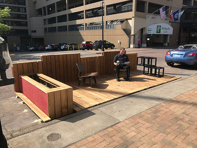 Thermally Modified Wood Element Parklet